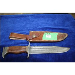 "8"" Damascus Knife; Damascus Guard & Pommel; Wood & Brass Handle; Leather Sheath"