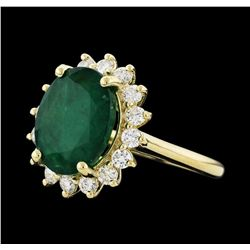 5.51 ctw Emerald and Diamond Ring - 14KT Yellow Gold