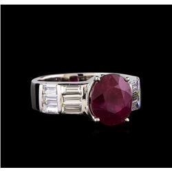Ruby and Diamond Ring - 18KT White Gold