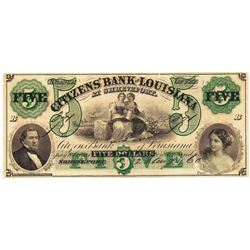 1860 $5 Citizens' Bank of Lousiana at Shreveport Obsolete Bank Note