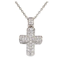 1.00 ctw Diamond Cross Pendant with Chain - 18KT White Gold and Stainless Steel