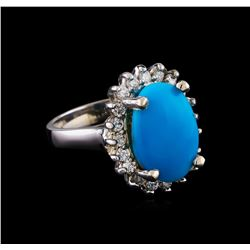 5.37 ctw Turquoise and Diamond Ring - 14KT White Gold