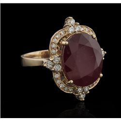 16.06 ctw Ruby and Diamond Ring - 14KT Rose Gold