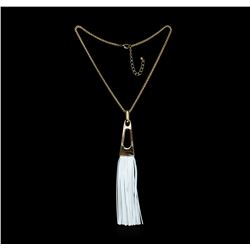 Leather Tassel Chain Necklace - Gold Plated