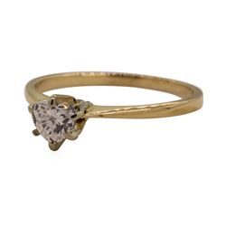 0.40 ctw Heart Shaped Diamond Solitaire Ring - 14KT Yellow Gold