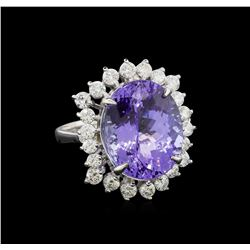 11.57 ctw Tanzanite and Diamond Ring - 14KT White Gold