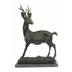 Hunting Buck Stag Hunter Prize Game Bronze Statue