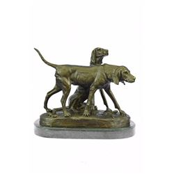 Vintage Style Hunting Dogs Bronze Sculpture