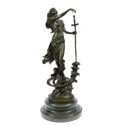 Justice Lady Bronze Sculpture on Marble Base Statue