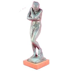 Shy Nude Girl Bronze Statue With Green Patina