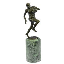 Trophy Football Player Bronze Sculpture on Marble Base Statue