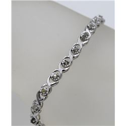 BEAUTIFUL STERLING SILVER AND DIAMOND BRACELET BEAUTIFUL STERLING SILVER AND DIAMOND BRACELET. 7.5""