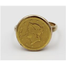 1853 $1 GOLD TYPE 1 IN A 14K GOLD RING 1853 $1 GOLD TYPE 1 IN A 14K GOLD RING. SIZE 4.5. 3.7 GRAMS.