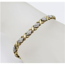 GOLD TONED AND DIAMOND STERLING SILVER BRACELET