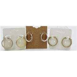 3 PAIRS OF .925 GOLD-TONED HOOP EARRINGS 3 PAIRS OF STERLING SILVER GOLD-TONED HOOP EARRINGS. ALL FO