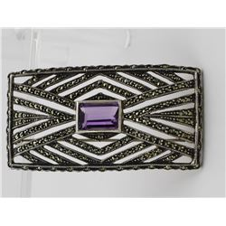 BEAUTIFUL BROOCH WITH BLACK RHINESTONES & AMETHYST BEAUTIFUL BROOCH WITH BLACK RHINESTONES AND LARGE