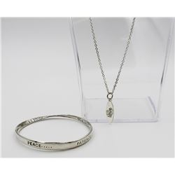 .925 NECKLACE AND BANGLE BRACELET SET STERLING SILVER NECKLACE AND BANGLE BRACELET SET. NECKLACE HAS