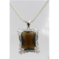 "BEAUTIFUL SMOKY QUARTZ AND CZ NECKLACE BEAUTIFUL SMOKY QUARTZ AND CZ ON STERLING SILVER 19.5"" CHAIN."