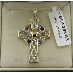 STERLING SILVER CELTIC CROSS W/ 14K GOLD HEART STERLING SILVER CELTIC CROSS WITH 14K GOLD HEART IN B