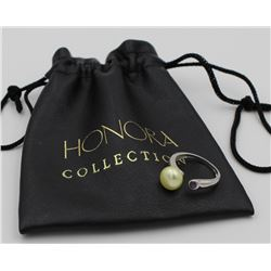 HONORA COLLECTION CULTURED PEARL RING HONORA COLLECTION CULTURED PEARL WITH AMETHYST STERLING SILVER