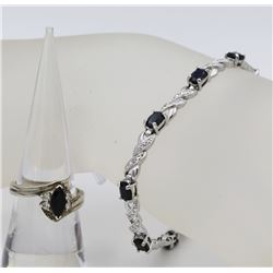 SAPPHIRE COLORED .925 BRACELET AND RING SET. DEEP SAPPHIRE COLORED STONES AND STERLING SILVER BRACEL