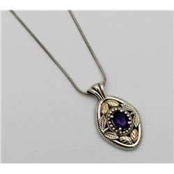 .925 & 12KT NECKLACE W/ AMETHYST COLORED STONES STERLING SILVER & 12KT NKECLACE WITH AMETHYST COLORE