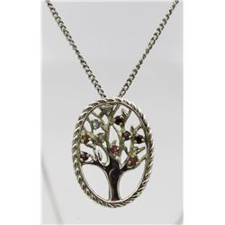 .925 NECKLACE WITH FAMILY TREE AND BIRTHSTONES STERLING SILVER NECKLACE WITH FAMILY TREE