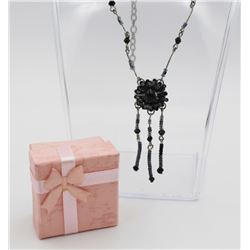 STERLING SILVER AND BLACK BEADED NECKLACE STERLING SILVER NECKLACE WITH BLACK AND DEEP PURPLE BEADS.