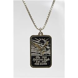 """.999 5 GR. SILVER BAR ON A STERLING SILVER CHAIN .999 5 GR. SILVER BAR """"THE 1983 AMERICAN EAGLE"""" STA"""