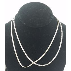 """(2) 18"""" LONG STERLING SILVER CHAINS (2) 18"""" LONG STERLING SILVER CHAINS. BOTH STAMPED """"ITALY"""". 23.1"""