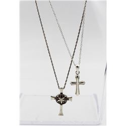 """(2) STERLING SILVER CROSS NECKLACES (2) STERLING SILVER CROSS NECKLACE. ONE IS 16.5"""" LONG AND THE OT"""