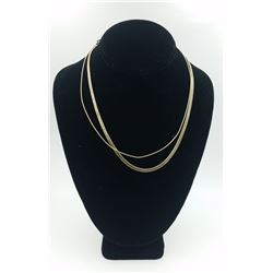 """TWO GOLD-TONED STERLING SILVER NECKLACES TWO GOLD-TONED STERLING SILVER NECKLACES.  BOTH 18"""" LONG. P"""