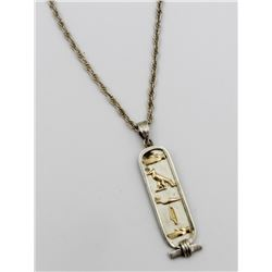 """STERLING SILVER CHAIN AND PENDANT STERLING SILVER CHAIN AND PENDANT. PENDANT HAS THE NAME """"DAVID"""" WR"""