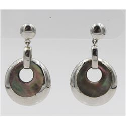 ABAOLONE AND STERLING SILVER EARRINGS BEAUTIFUL ABALONE SHELL AND STERLING SILVER EARRINGS FOR PIERC