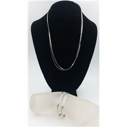 GROUP OF 4 .925 - (2) NECKLACES & (2) BRACELETS GROUP OF 4 STERLING SILVER JEWELRY PIECES. TWO NECKL