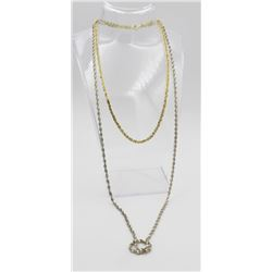 """TWO GORGEOUS STERLING NECKLACES TWO GORGEOUS STERLING SILVER NECKLACES - ONE GOLD TONED 16"""" LONG AND"""