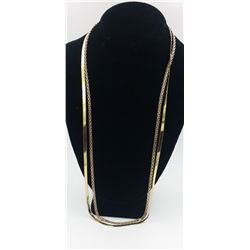 """2 GOLD TONED STERLING SILVER CHAINS 2 GOLD TONED STERLING SILVER CHAINS. BOTH ARE 30"""" LONG. STAMPED"""