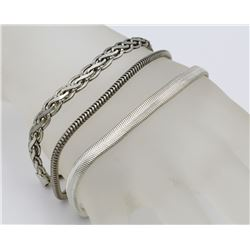 (3) STERLING SILVER BRACELETS W/ VARIOUS CHAINS (3) STERLING SILVER BRACELETS WITH VARIOUS CHAIN STY