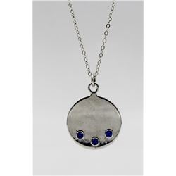 """STERLING SILVER PENDANT WITH SAPPHIRE STONES STERLING SILVER PENDANT WITH SAPPHIRE STONES ON A 15"""" C"""