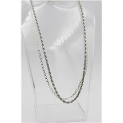 """TWO 18"""" STERLING SILVER CHAINS TWO 18"""" STERLING SILVER CHAINS. DIFFERENT CHAIN LINK PATTERNS. 20.5 G"""