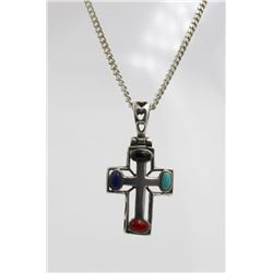 """.925 """"THAILAND"""" CROSS WITH MULTI-COLORED STONES STERLING SILVER CROSS WITH MULTI-COLORED STONES. STA"""