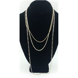 3 STERLING SILVER CHAINS GROUP OF 3 STERLING SILVER CHAINS. DIFFERENT CHAIN STYLES. ONE IS GOLD TONE