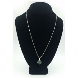 """STERLING SILVER NECKLACE WITH TURQUOISE STONE STERLING SILVER NECKLACE WITH TURQUOISE STONE ON  22"""""""
