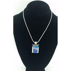 .925 MEXICO FUSED GLASS NECKLACE .925 MEXICO GORGEOUS FUSED GLASS NECKLACE. AMAZING SHADES OF BLUES,