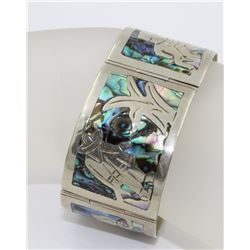 4 PANEL MEXICO .925 SILVER WITH ABALONE SHELL 4 PANEL MEXICO .925 SILVER WITH ABALONE SHELL DETAILS.