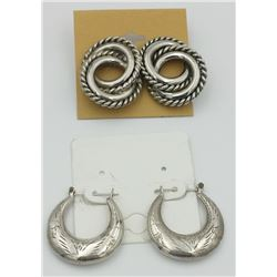 TWO PAIRS OF BOLD .925 HOOP STYLE EARRINGS TWO PAIRS OF BOLD .925 HOOP STYLE EARRINGS FOR PIERCED EA