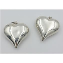 TWO LARGE STERLING SILVER HEART PENDANTS TWO LARGE STERLING SILVER HEART PENDANTS. 10 GRAMS EACH. TO