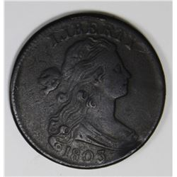 1803 LARGE CENT VF/XF 1803 LARGE CENT VF/XF VERY NICE SURFACES, RARE! ESTIMATE: $750-$850