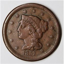 1857 LARGE CENT LARGE DATE VF KEY COIN. NICE! 1857 LARGE CENT LARGE DATE VF KEY COIN. NICE! ESTIMATE