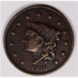 1836 LARGE CENT CH BROWN AU. NICE COIN! 1836 LARGE CENT CH BROWN AU. NICE COIN! ESTIMATE: $150-$200